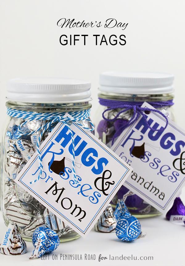 Hug and Kisses for Mom printable gift tags