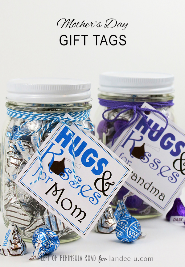 Hug and Kisses for Mom printable gift tags
