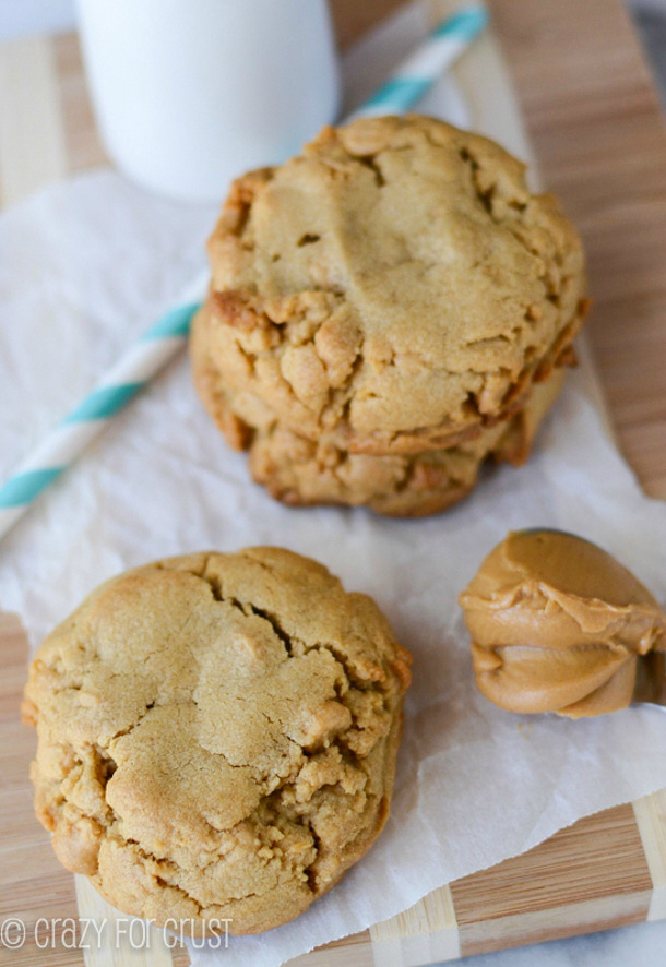 Bakery Style XL Peanut Butter Cookies Recipe via Crazy for Crust