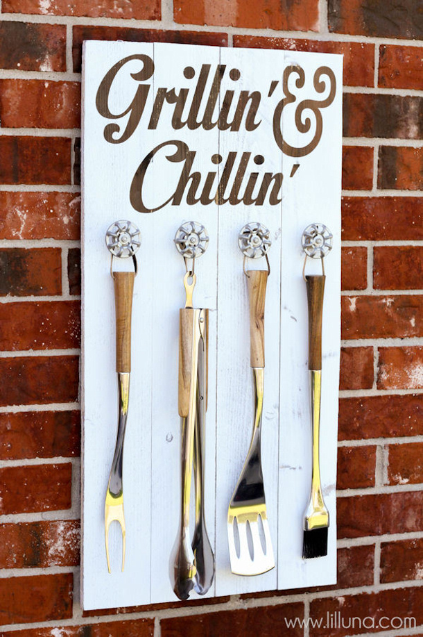DIY Fathers Day Gift Ideas - Grillin and Chillin Utensil station customized for your favorite Grillmaster - Tutorial via lil luna