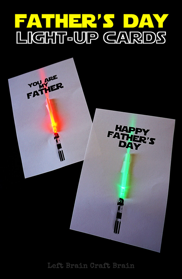 DIY Fathers Day Gift Ideas - Light Saber light up Cards - perfect for the Star Wars loving Dad - Tutorial via Left Brain Craft Brain