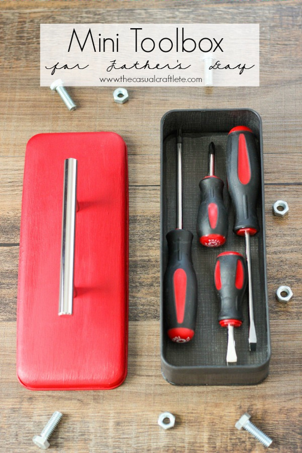 DIY Fathers Day Gift Ideas - Upcycle an old candy or cookie tin to make the cutest mini toolbox for Dad this year - Tutorial via The Casual Craftlete