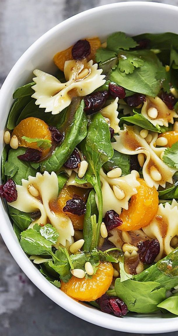 Pasta Salad Recipe - Mandarin Pasta Spinach Salad with Teriyaki Dressing Recipe - Perfect side dish to bring to your next potluck or BBQ! Recipe via Creme De La Crumb