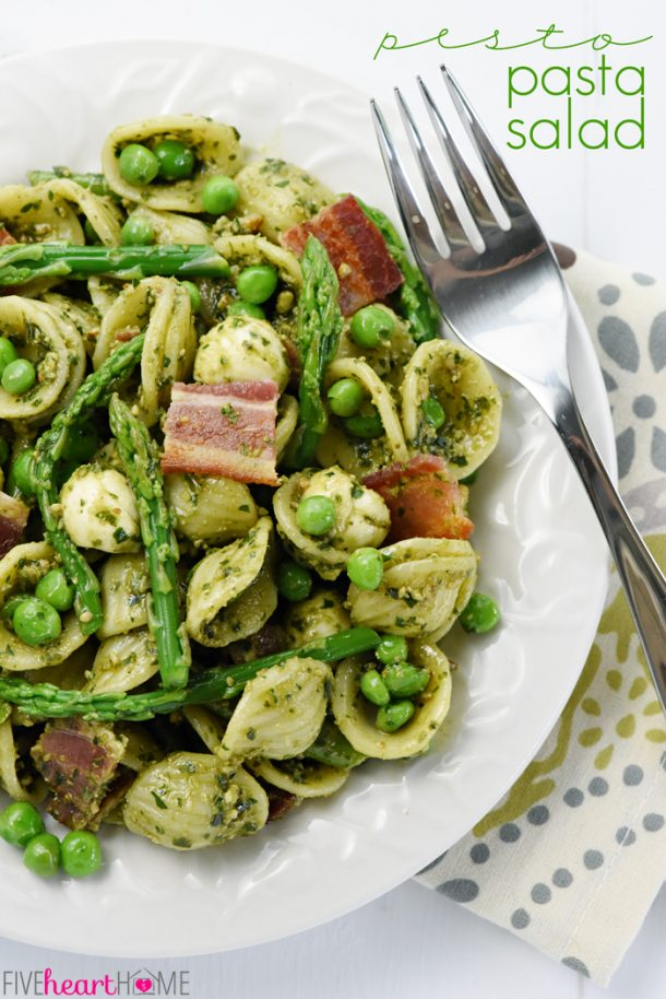 Pasta Salad Recipe - Pesto Pasta Salad Recipe with Asparagus Peas Bacon and Mozzarella - Perfect side dish for potlucks and summer barbecues! Recipe via Five Heart Home