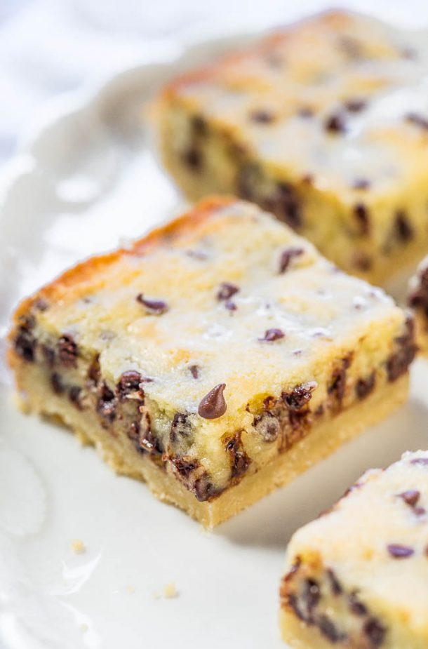 Shortbread Cookies - Gooey Butter Chocolate Chip Shortbread Cookie Bars Recipe via Averie Cooks