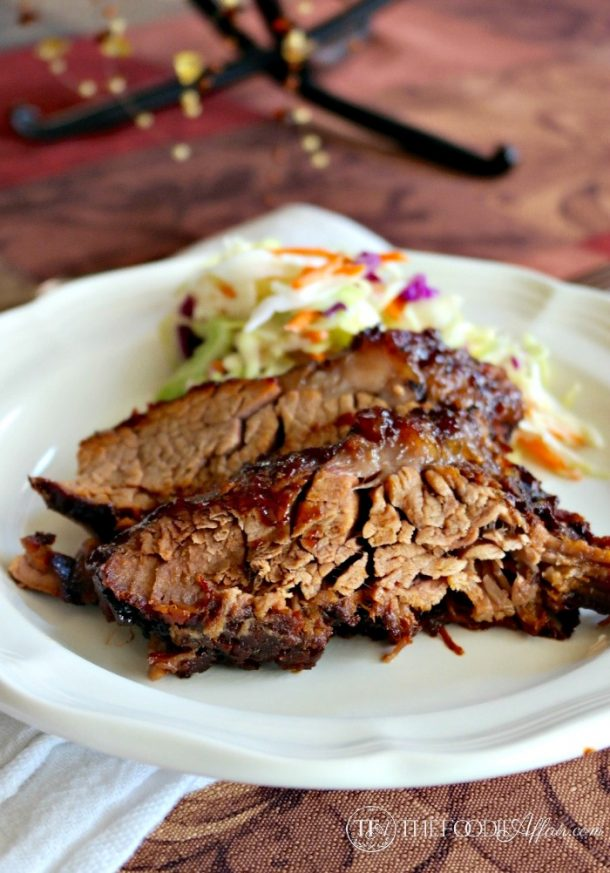 Beef Recipes - Delicious Oven Cooked Barbecue Beef Brisket Recipe via The Foodie Affair