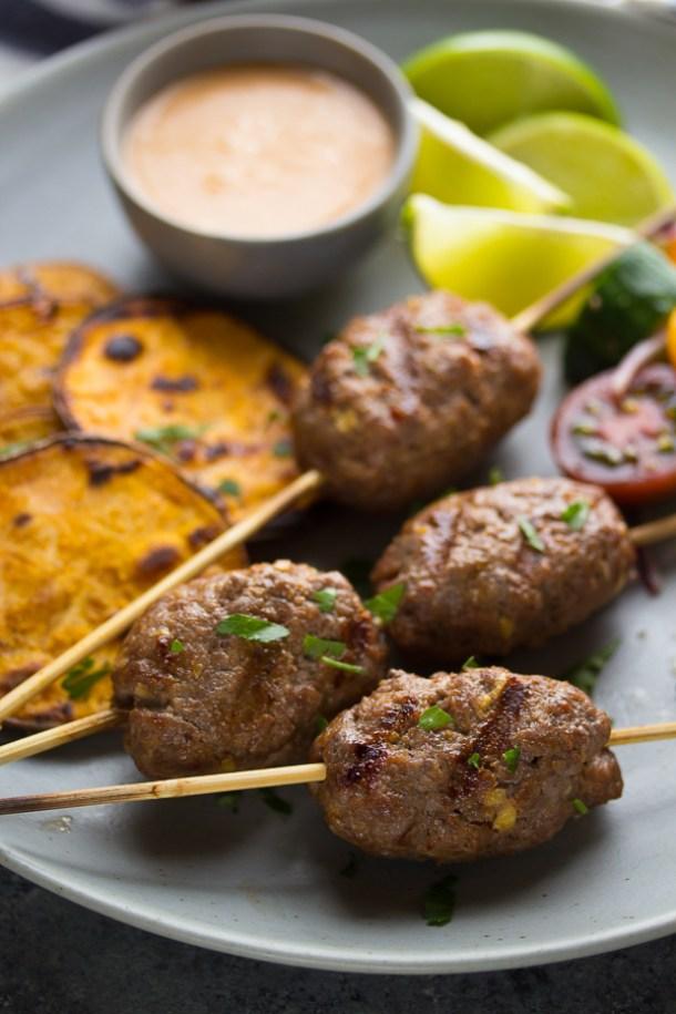 Beef Recipes - Thai Beef Curry Kofta with Coconut Sauce Recipe via Sweet Peas and Saffron