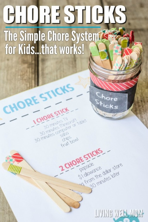 DIY Chore Charts - Free Printable Kids Chore Chart and DIY Family Chore Stick System Tutorial via Living Well Mom
