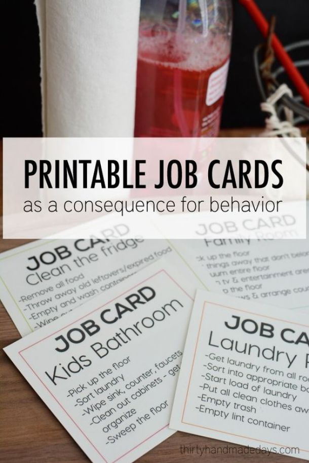 DIY Chore Charts - Printable Job Cards for Teens and Tweens as a Consequence for Kids Bad Behavior via 30 Days Blog