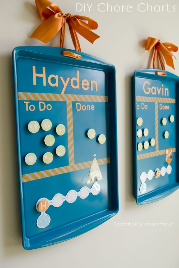 DIY Fun Game-Like Kids Cookie Sheet Chore Charts Tutorial and Printables via Craftaholics Anonymous