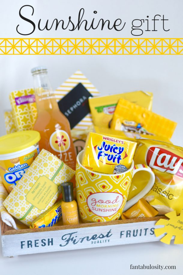 Do it Yourself Gift Basket Ideas for All Occassions - Box of Sunshine in a Crate ANYTIME gift ideas and tutorial via Fantabulosity