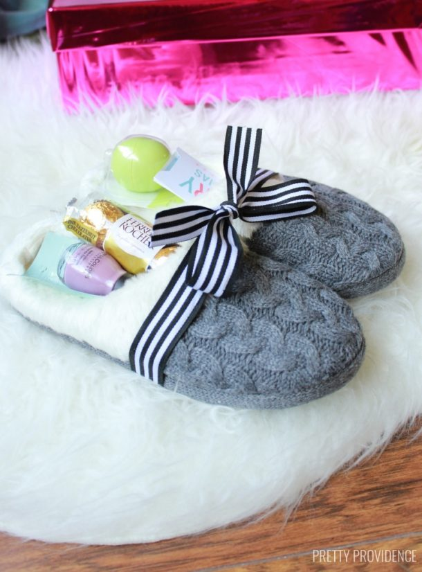 Do it Yourself Gift Basket Ideas for All Occassions - Fill some Cozy Slippers with Pampering
