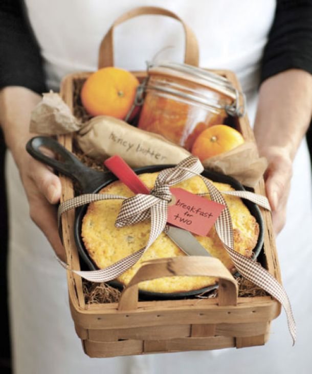 Do it Yourself Gift Basket Ideas for all Occassions - Breakfast for Two Sweet and Savory Gift Basket Idea via Country Living