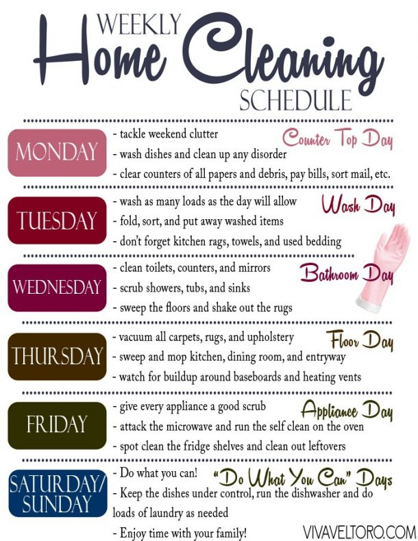 Organizational Printables - A Quick and Efficient Home Cleaning Routine along with FREE Printable Cleaning Schedule via Viva Veltoro
