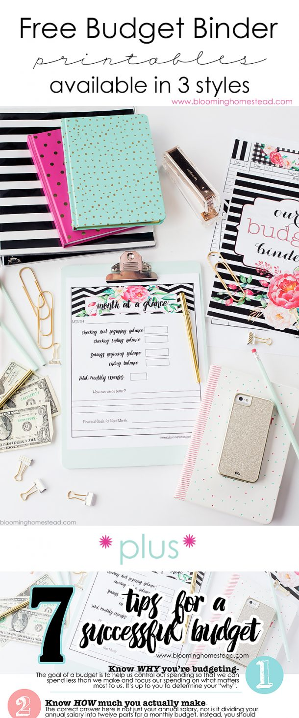 Organizational Printables - Darling Printable Budget Binders in 3 Pretty Styles along with 7 Tips for Successful Budgeting via Blooming Homestead