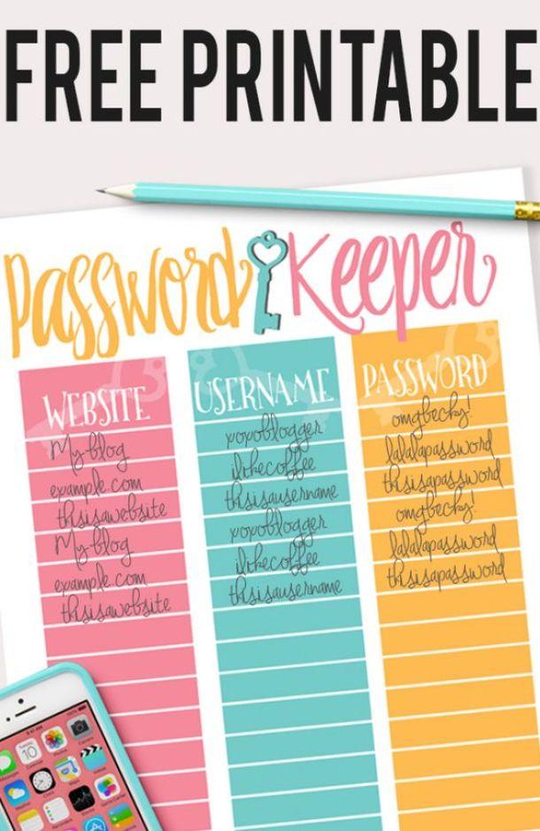 Organizational Printables - FREE Printable Password Keeper via Frugality Gal