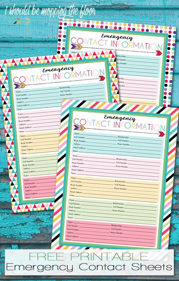Organizational Printables - Free Printable Emergency Contact Sheet via I Should be Mopping the Floor