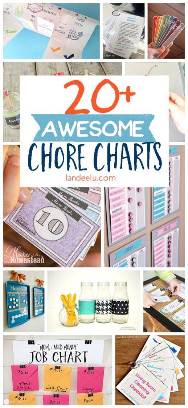 Organizational Printables - Over 20 Chore Chart Ideas and Printables that Actually Work via Landeelu