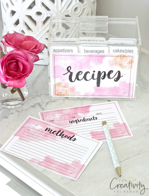 Organizational Printables - Pretty Watercolor Recipe Cards - Free Printables via The Creativity Exchange