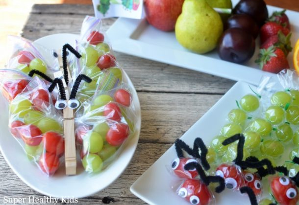 Butterflies and Caterpillar Lunch Snacks - So cute - Fun Back to School Lunch Recipe via Super Healthy Kids
