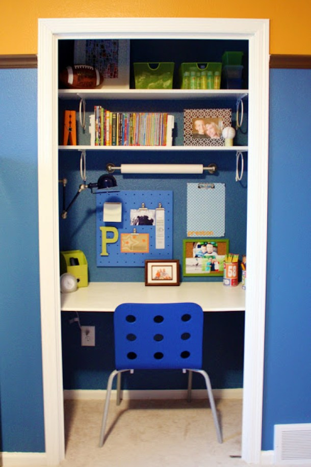 DIY Back to School Homework Station Ideas - Create a distraction free study station in a small closet via i heart organizing