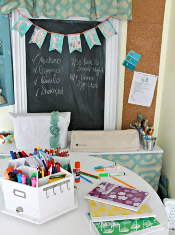 DIY Back to School Homework Station Ideas - Create a fun decorative Homework Station using a carousel caddy to store homework supplies via Mom 4 Real