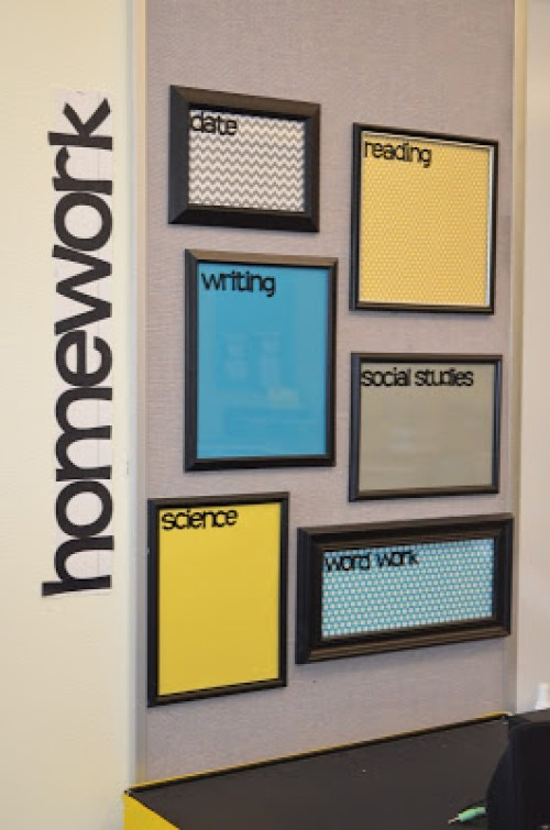 DIY Back to School Homework Station Ideas - Create dry erase hangable homework boards to see what needs to be done at a glance via Dandelions and Dragonflies