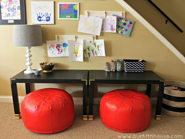 DIY Back to School Homework Station Ideas - Create short comfy homework stations from end tables and bean bag chairs via our fifth HOME