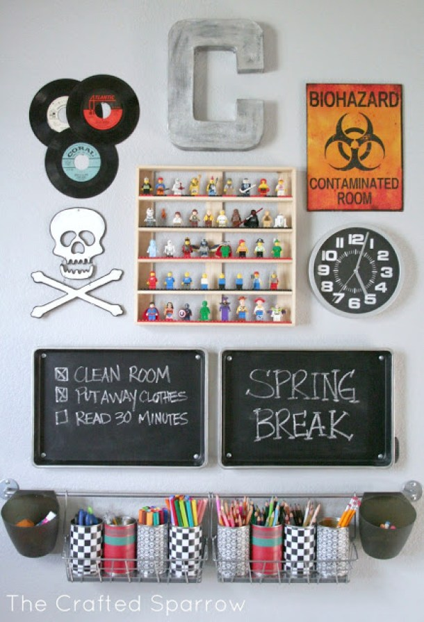 DIY Back to School Homework Station Ideas - Make a fun Gallery Wall Style Homework Station and make it fun by including some of their favorite things via The Crafted Spar