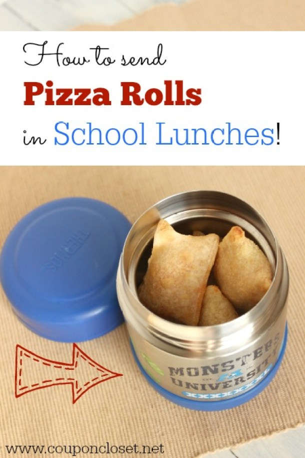 Great Tip for Sending Pizza Rolls or other warm foods in school lunches - Fun Back to School Lunch Ideas via Coupon Closet