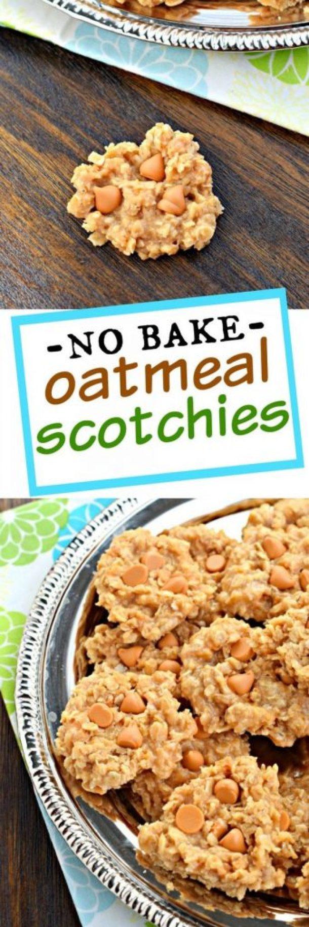 No Bake Cookies Recipes - No Bake Oatmeal Scotchies Recipe via Shugary Sweets