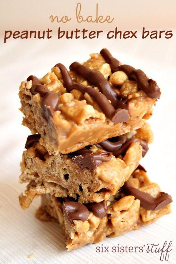 No Bake Cookies Recipes - No Bake Peanut Butter Chex Bars Cookies Recipe via SixSistersStuff