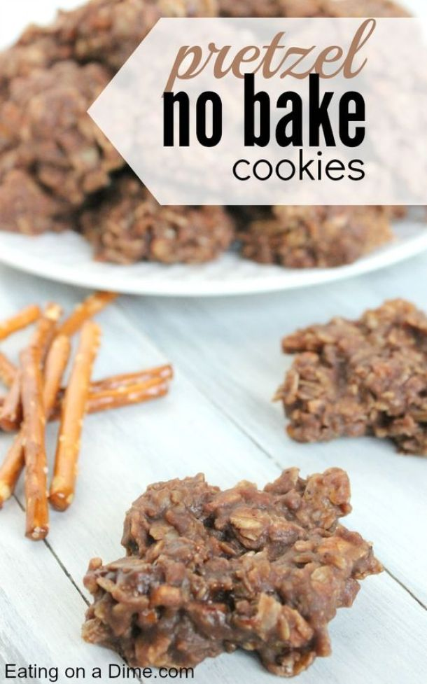 No Bake Cookies Recipes - Sweet and Salty Pretzel No Bake Cookies Recipe via Eating on a Dime