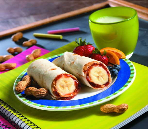 Peanut Butter and Jelly Banana Burritos Recipe and Tutorial via Mission Menus - Fun Back to School Lunch Ideas and Recipes