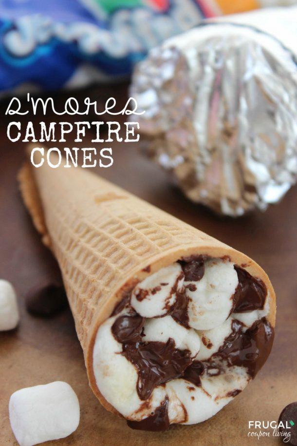 S'Mores Dessert Recipes - Smores Campfire Cones Recipe and Tutorial via Frugal Coupon Living