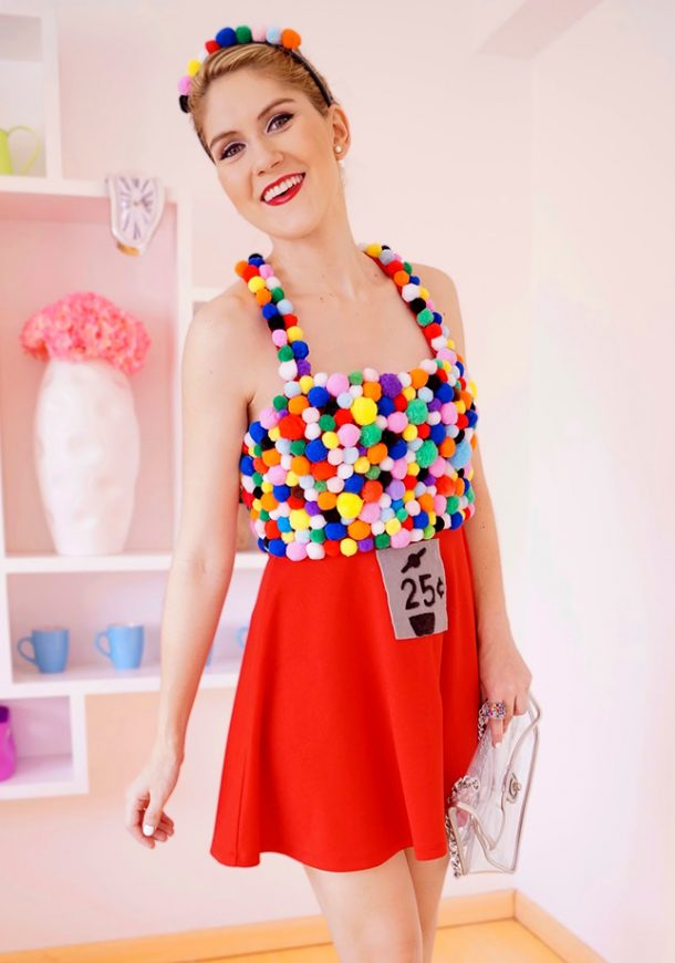 DIY Halloween Costumes Ideas - FUN Homemade Gumball Machine Do it Yourself Costume Tutorial via The Joy of Fashion