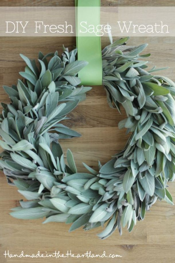 DIY projects - Fall Wreaths - DIY Fresh Sage Wreath Tutorial via Handmade in the Heartland - I bet this smells fantastic
