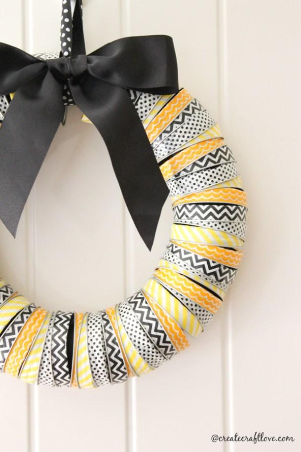 DIY projects ideas - Fall Wreaths - Cute Fall Canning Lid and Washi Tape Wreath - DIY Tutorial via Create Craft Love