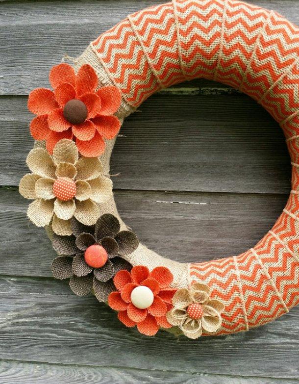 DIY projects ideas - Fall Wreaths - Pretty Burlap Chevron and Burlap Flowers Wreath Idea via BurlapBlooms
