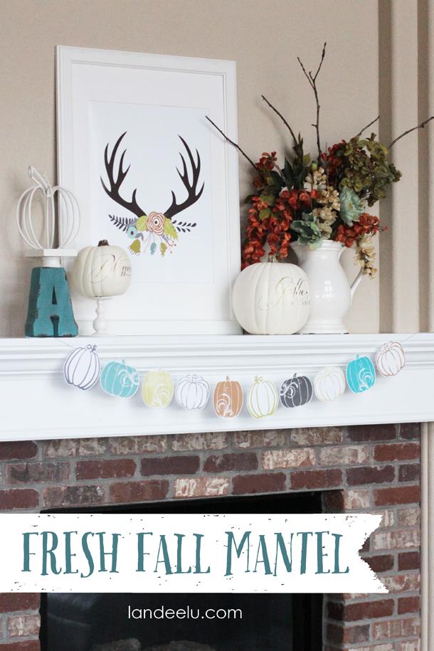 Do it Yourself Fresh Fall Mantel Inspiration Home Decor Ideas for Autumn via Landeelu