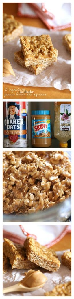 Healthy Snacks Recipes - 3 Ingredient No Bake Peanut Butter Oat Squares - perfect for after school or before a workout - Recipe via Cookies and Cups