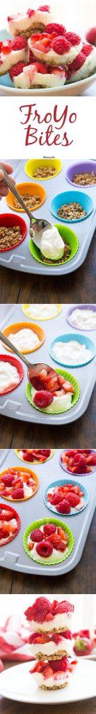 Healthy Snacks Recipes - FroYo Bites - perfect for after school or before a workout - Recipe via Skinny Ms