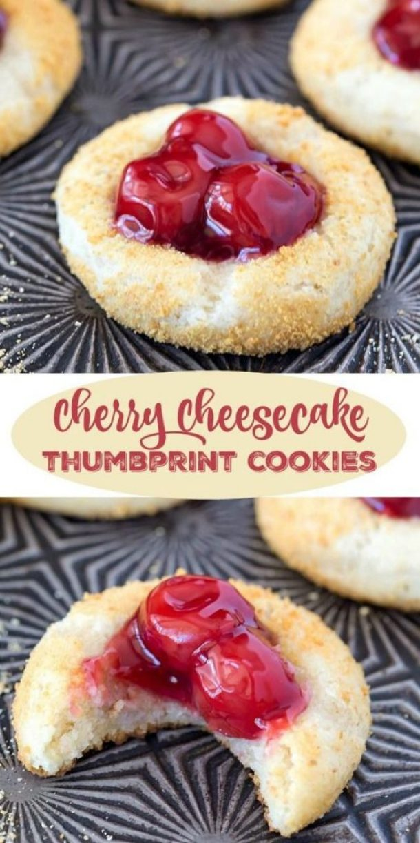 Cherry Cheesecake Thumbprint Cookies Recipe | i heart eating