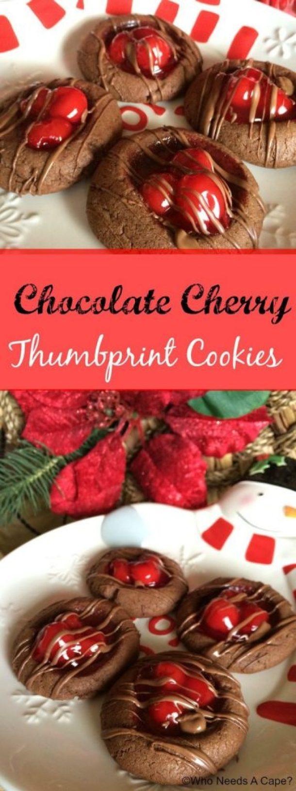 Chocolate Cherry Thumbprint Cookies Recipe | Who Needs a Cape?