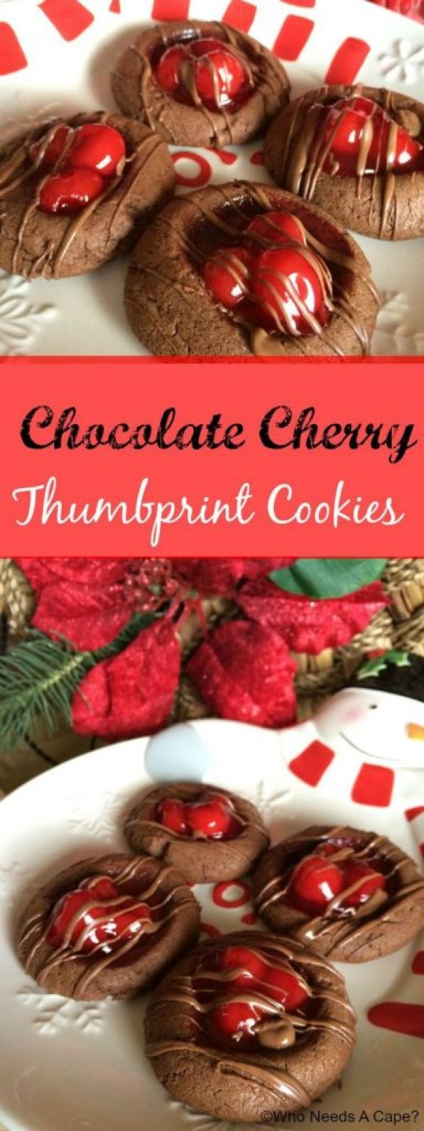 Chocolate Cherry Thumbprint Cookies Recipe | Who Needs a Cape?