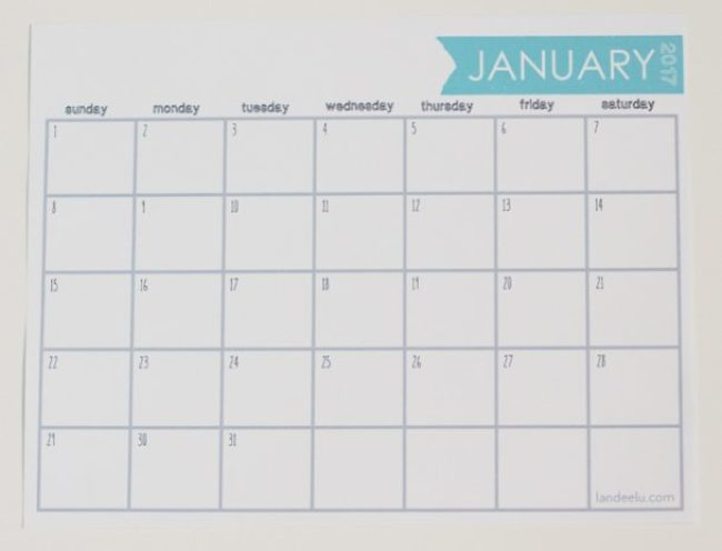 Download this free printable calendar and get organized for 2017!