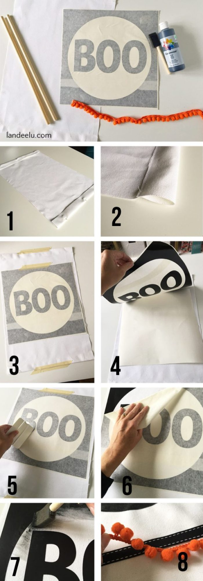 A darling Halloween craft made from canvas and a vinyl stencil! Easy sew project.