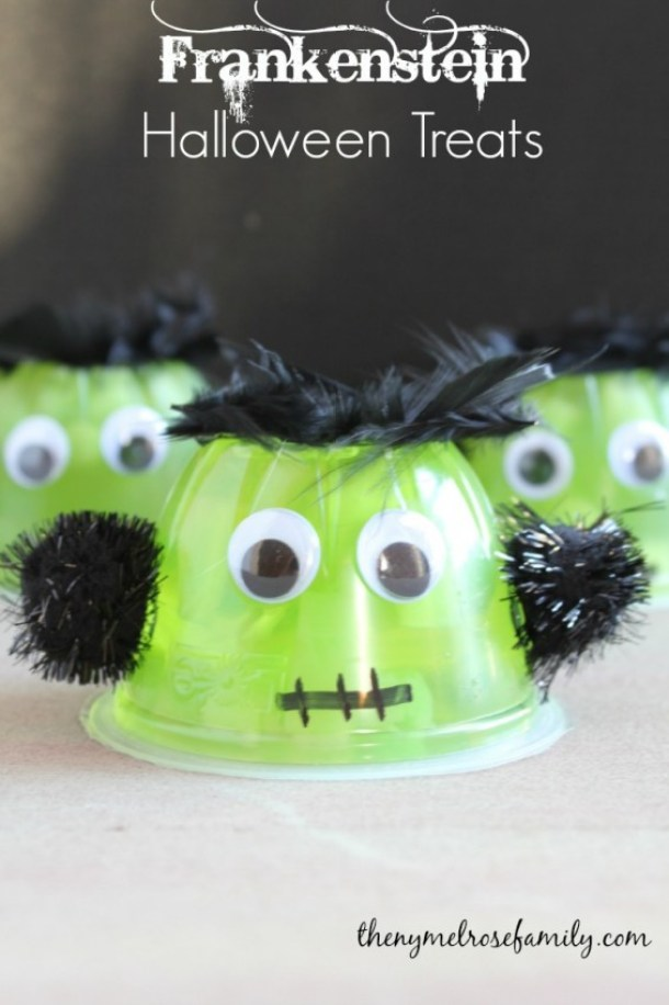 Non-Candy Halloween Treats and Favors Ideas and Recipes - Frankenstein Fruit Cups via The NY Melrose Family