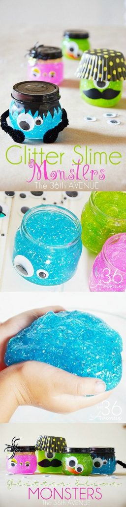 Non-Candy Halloween Treats and Favors Ideas and Recipes - Glitter Slime Monsters via The 36th Avenue