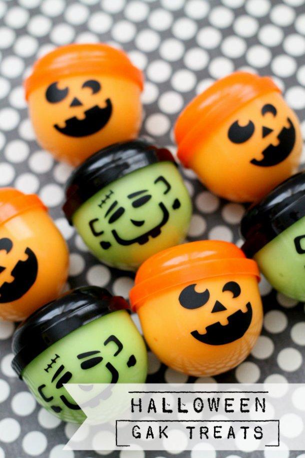 Non-Candy Halloween Treats and Favors Ideas and Recipes - Halloween Gak Treats via lil luna